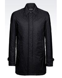 Emporio Armani Pea Coat In Striped Technical Fabric - Lyst