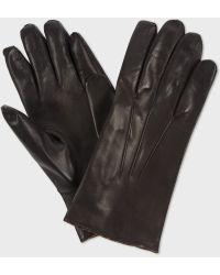Paul Smith Brown Vintage Stripe Trim Gloves - Lyst