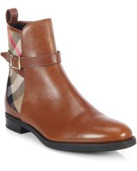 Burberry Richardson Leather Check Canvas Ankle Boots - Lyst