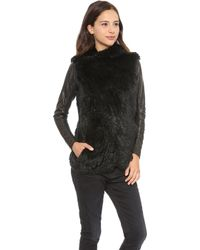 June Knit Fur Jacket with Leather Sleeves Toffee - Lyst