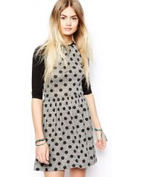 Asos Skater Dress with Spot and Raglan Sleeve - Lyst