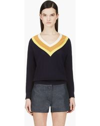 Band Of Outsiders Navy Colorblocked V_neck Sweater - Lyst