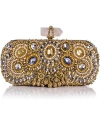 Marchesa Lily Medium Embroidered Crystal Clutch Gold - Lyst