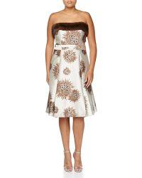 Carolina Herrera Floral Mink-Trim Dress floral - Lyst