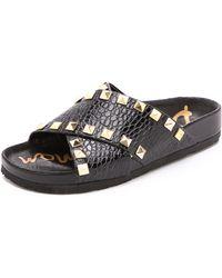 Sam Edelman Arina Studded Slide Sandals  Black - Lyst
