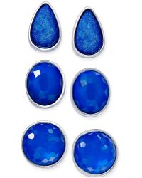 Style & Co. | Silver-tone Blue Stone Stud Earring Set | Lyst
