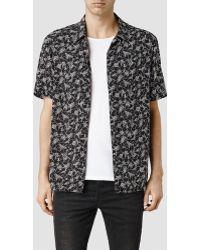 AllSaints Scribble Short Sleeved Shirt black - Lyst