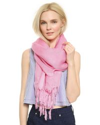 Love Quotes - Knotted Tassel Linen Scarf - Maliblu - Lyst