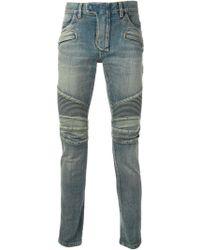 Balmain Slim Ribbed Detail Jeans - Lyst