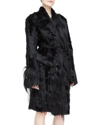Donna Karan New York Selfbelted Fur Topper Coat - Lyst