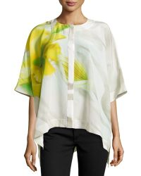 Lafayette 148 New York Floral-print Silk Blouse - Lyst
