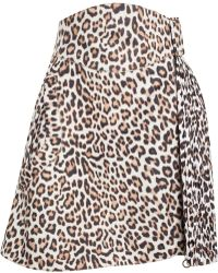 Carven Pleated Leopard Print Wool Skirt - Lyst