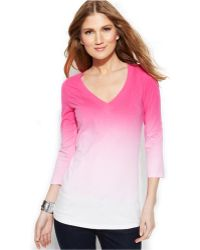 Inc International Concepts V-Neck Ombré Top - Lyst
