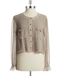 Guess Cropped Blouse - Lyst