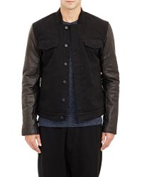 T By Alexander Wang - Leather-sleeve Brushed Denim Jacket - Lyst