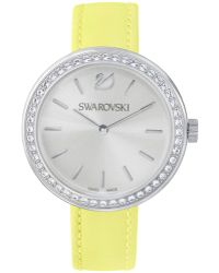 Swarovski Women'S Swiss Daytime Leather Strap Watch 34Mm 5095643 yellow - Lyst