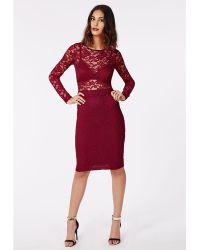Missguided Carrianne Lace Long Sleeve Bra Insert Midi Dress Oxblood - Lyst