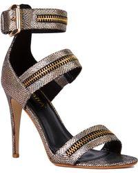 Akira Metallic Zipper Ankle Strap Iridescent Gold Heels - Lyst