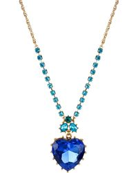 Betsey Johnson - Gold-tone Blue Crystal Heart Pendant Necklace - Lyst