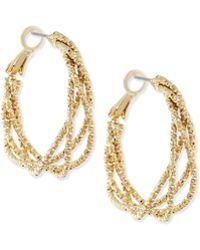 R.j. Graziano - Textured Golden Hoop Earrings - Lyst