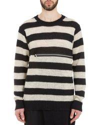 Yohji Yamamoto Stripe Zipper Sweater - Lyst