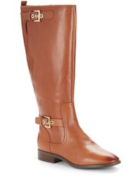 Nine West Bringit Leather Riding Boots - Lyst