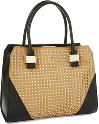 Calvin Klein Perforated Saffiano Leather Satchel Bag - Lyst