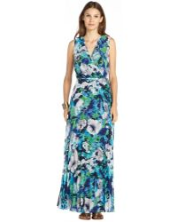 Donna Morgan Blue And Green Floral Printed Pleated Chiffon Mock Wrap Maxi Dress - Lyst