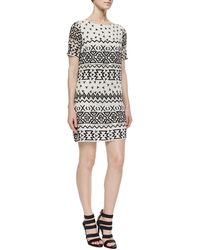 Alice + Olivia Jan Embroidered Shift Dress - Lyst
