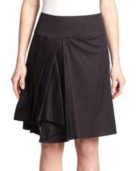 Milly Asymmetrical Draped Skirt black - Lyst