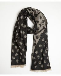 Alexander McQueen Black and Antiqued Gold Wool Blend Skull Print Scarf - Lyst