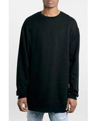 Topman Longline Crewneck Sweatshirt - Lyst