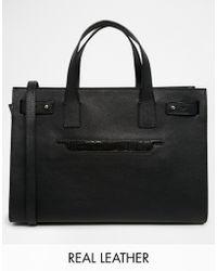Asos Leather Handheld Bag with Front Slit Pocket - Lyst