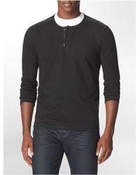 Calvin Klein Slim Fit Heathered 3-Button Cotton Henley - Lyst
