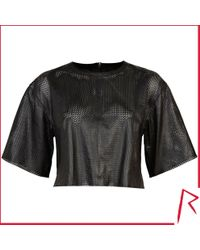River Island Black Rihanna Perforated Leather Crop Top - Lyst