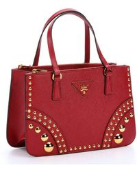 Prada Red Saffiano Leather Studded Top Handle Bag - Lyst