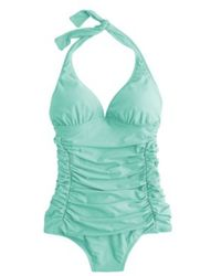 J.Crew Ruched Halter One-Piece Swimsuit - Lyst