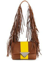 Sara Battaglia Stripe Teresa Leather Shoulder Bag - Lyst