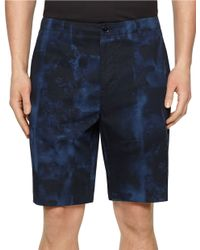 Calvin Klein Printed Flat Front Shorts blue - Lyst