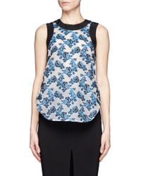 Prabal Gurung Contrast Piping Rose Embroidery Top - Lyst