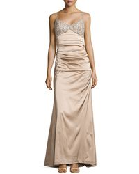 Theia Satin Gown Wencrusted Bodice - Lyst
