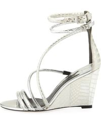 B Brian Atwood - Sedini Metallic Mixed-Leather Wedge - Lyst