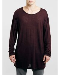 Topman Burgundy Longer Length Grunge Scoop Longsleeve Tshirt - Lyst