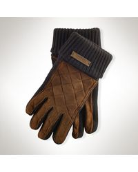 Polo Ralph Lauren Quilted Suede Gloves - Lyst