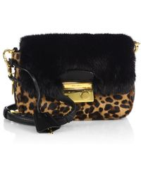 Prada Cavallino & Mink Fur Crossbody Bag - Lyst
