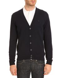 Lacoste Lambswool Navy Cardigan with Toneontone Crocodile Logo - Lyst