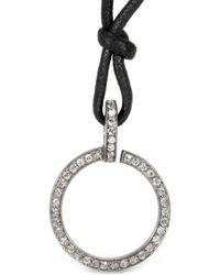 Roberto Marroni - Matte Oxidized Silver Circle Pendant Necklace With Grey Diamonds - Lyst