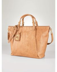 Ralph Lauren Paulden Tooled-Leather Tote gold - Lyst