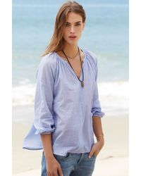 Velvet By Graham & Spencer Dulce Chambray Peasant Top - Lyst