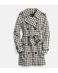 Coach Mid-length Check Trench - Lyst